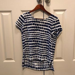 Anthropologie blue & white printed XS top